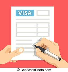 application, remplissage, visa, homme, mains