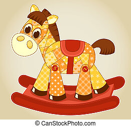 Application rocking horse. Vector cartoon illustration for children.