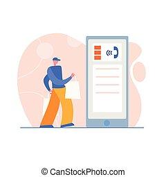 application., serviço, delivery., localizando, conceito, apartamento, entrega, móvel, mensageiro, eco, cheio, sacolas, rapidamente, caricatura, pacote, homem, aterragem, desenho, jovem, style., tema, expresso, página, papel