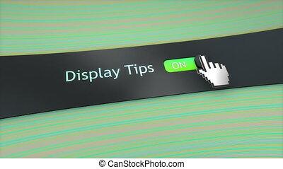 Application setting Display tips.