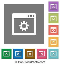 Application settings square flat icons