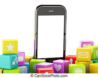 application, smartphone, 3d, nuage, icônes
