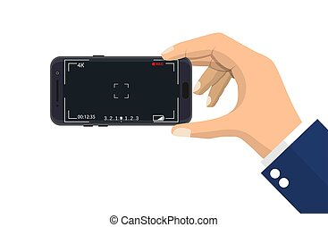 application., smartphone, appareil photo, moderne