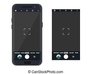 application, smartphone, appareil photo, moderne