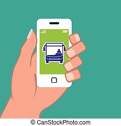 application, smartphone, autobus