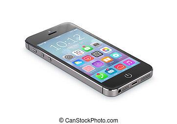 application, smartphone, icônes, image, moderne, isolé,...