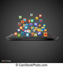 application, smartphone, nuage, icons.