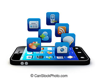 Application - Smartphone with cloud of application icons ...