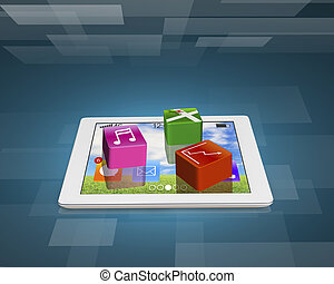 application software icons on tablet
