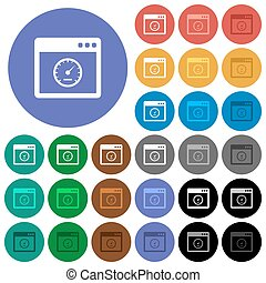 Application speed round flat multi colored icons