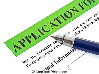 application - fountain pen lying on the form of employment