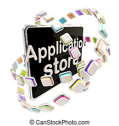 Application store emblem icon as a pad screen isolated on white