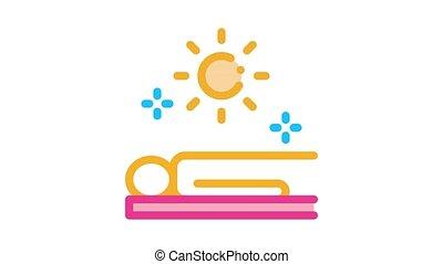 application sun bath Icon Animation. color application sun bath animated icon on white background