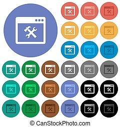 Application tools round flat multi colored icons
