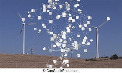 application, turbines, vent, icônes