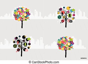 application., vektor, träd, illustration., moln