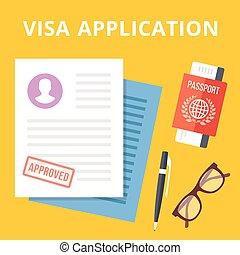application, visa, illustration, plat