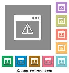 Application warning square flat icons