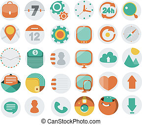 Application Web Icons In Flat Desi