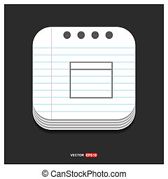 Application window interface icon Gray icon on Notepad Style template Vector EPS 10 Free Icon