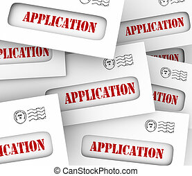 Application Word Envelopes Many Candidates Apply Job Loan Letters