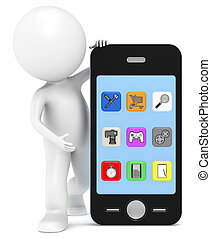 Applications - 3D little human character with a Smart Phone....