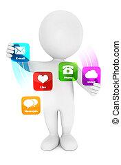 applications, blanc, 3d, gens