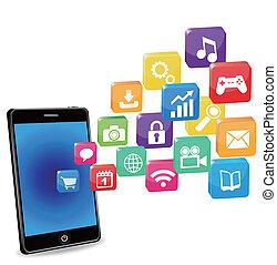 applications, blanc, intelligent, téléphone
