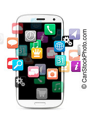 applications cloud for touch screen phone, cut out from ...