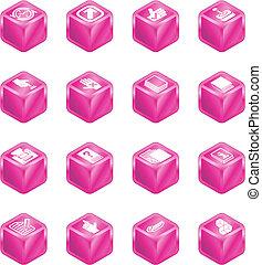 applications, cube, série, ensemble, icône