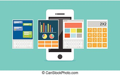 Applications on mobile phone concept illustration. Mobile applications.