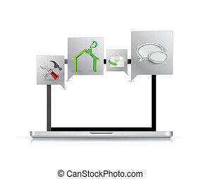 applications, ordinateur portatif, tools.
