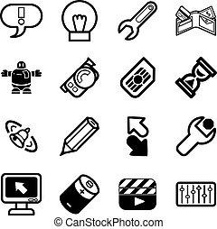applications, relater, ensemble, icône ordinateur