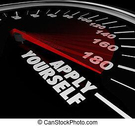 applicera, dig själv, hastighetsmätare, mätare, framgång, försöka, ansträngning, potental
