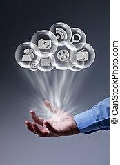 applikationer, fingerspetsar, din, moln, beräkning
