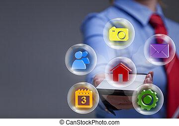 applikationer, kvinna, smartphone, affär