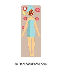 appliqué, femme, coloré, elle, masque, décontracté, caractère, isolé, figure, fond, chocolat blanc, face.