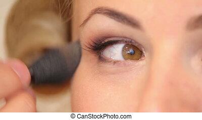 appliqué, modèles, yeux, maquillage