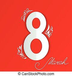 applique, a, 8, marzo, mujeres, día, card., floral, señal