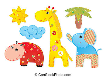 applique, 'africa':, elefante, hipopótamo, jirafa, niños