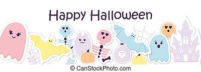 applique., fantasma, dia das bruxas, esquema, engraçado, banner., bebê, corte, sorrizo, abóbora, papel, feliz, calligraphy., cranio, vetorial, cabeçalho, skeleton., teia