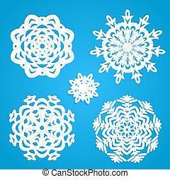 Applique snowflakes set on blue background