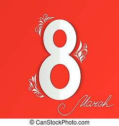 Applique to 8 march Women's Day card with floral sign on red background. Cut from paper. Vector illustration