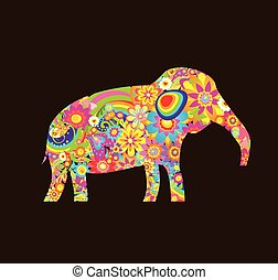 Applique with decorative elephant with colorful flowers print