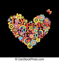 Applique with hippie heart shape with colorful abstract paper flowers