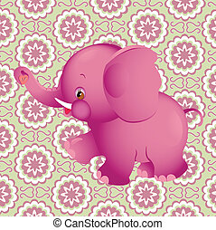 The illustration shows the applique pink elephant on the background of floral decorative pattern. Illustration done on separate layers with the use of clipping mask.