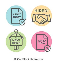 Apply and Hired Outline Icons with Person