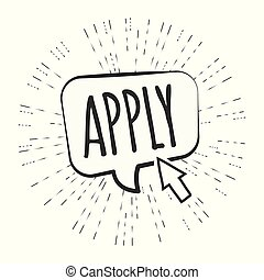 Apply- button with cursor. Ideal for web form submission, campaign participation banners, blogs and content updates, doodle vector illustration
