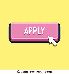 Apply, button with cursor in flat design