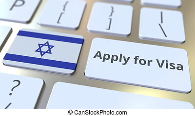 APPLY FOR VISA text and flag of Israel on the buttons on the...